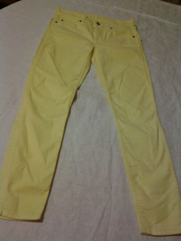 NEW WOMEN 7 FOR ALL MANKIND SKINNY JEANS THE CROPPED IN NEON CITRON SZ 25