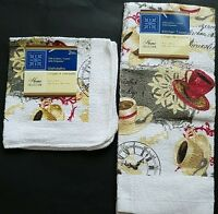 Kitchen Coffee Time Theme Linen, Select: Dish Cloth &/or Towel