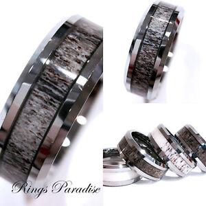 Mens Tungsten Ring Real Antler Ring Antler Wedding Band Tungsten