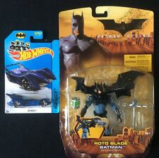 BATMAN BEGINS ROTO BLADE BATMAN ACTION FIGURE 2005 & BATMOBILE Die-Cast, Mattel