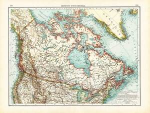 Details about Antique Map-NORTH AMERICA-CANADA-USA-Andree-1904