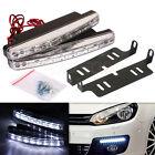 2x White 8 LED Daytime Driving Running Light DRL Car Fog Lamp Waterproof DC 12V
