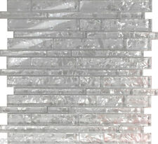 Sample White Pearl Scent Linear Glass Mosaic Tile Kitchen Backsplash Pool Sink