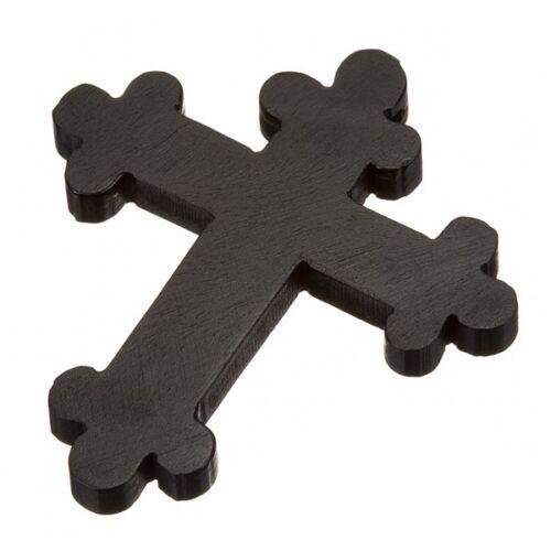 Negro Large madera ortodoxa Cruz Colgante Tallada a Mano 45x52mm Paquete de 1 C21//1