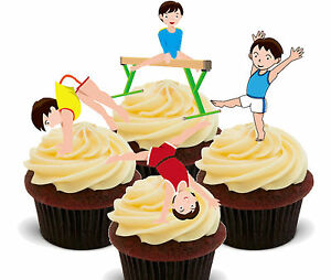 Image Is Loading Boys Gymnastics Edible Cup Cake Toppers Standup Fairy
