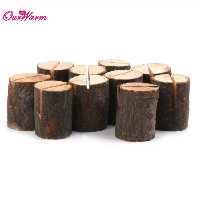 100x Wooden Table Card Stand Number Place Name Memo Holder Party Wedding Decor