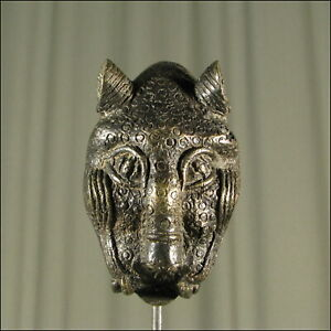 59552-Afrikanischer-Bronze-Leoparden-Kopf-Kamerun-Afrika-KUNST