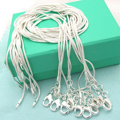 WHOLESALE DAINTY 10PCS PURE SILVER PLATED SNAKE CHAIN NECKLACE 1MM 16-24INCH