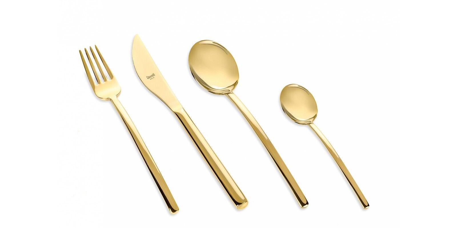 Mepra - Posto Tavola 4 Pezzi Posate Titanium Due Gold The Luxury Art Mepra