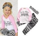 Toddler Baby Kids Girls Clothes T-shirt Pants Leggings Headband 3PCS Outfits Set