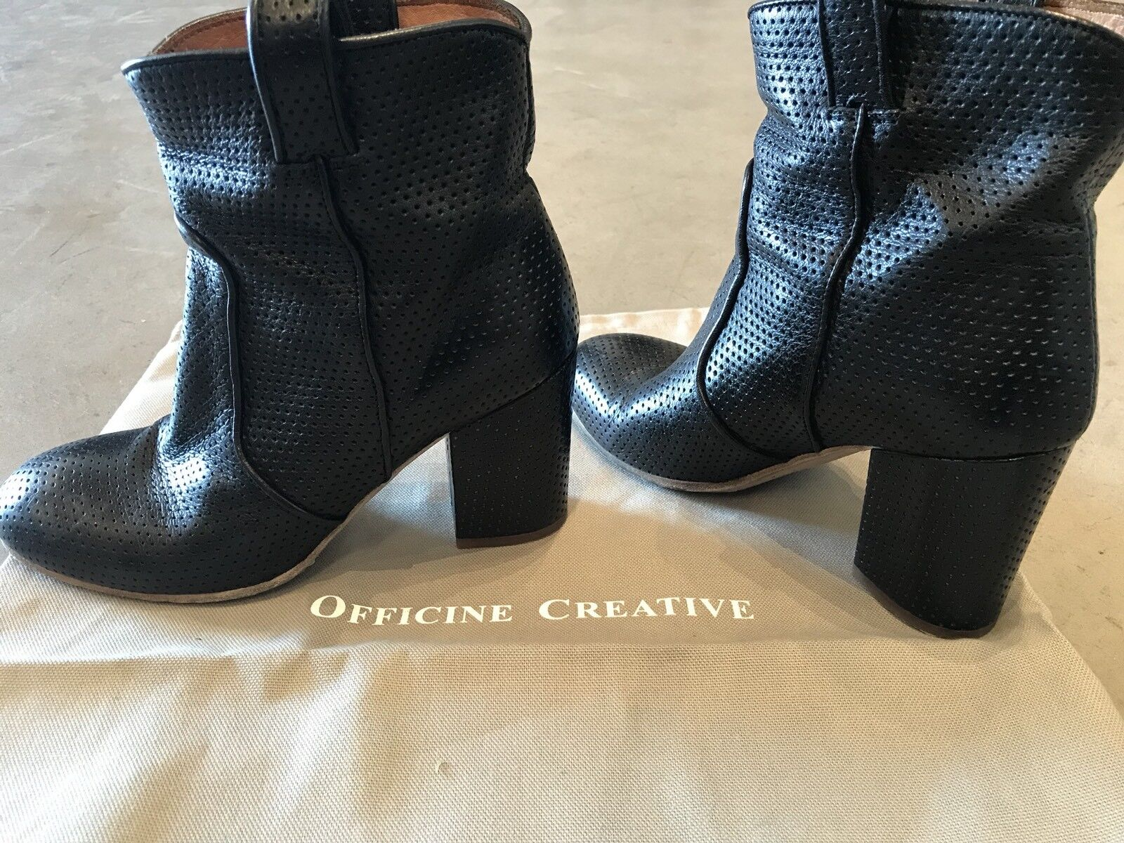 680 OFFICINE CREATIVE Perforated Leather Boots SZ 36.5  US 7 Black shoes RARE