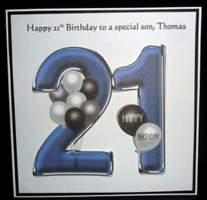 Personalised Handmade Balloons 21st Birthday Card Son Grandson