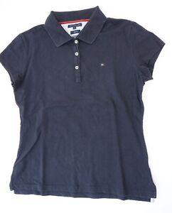 Tommy Hilfiger Poloshirt Damen Gr.L blau uni Piquè -S1222