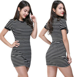 US-Fashion-Women-Fitted-Bodycon-Short-Sleeve-O-Neck-Striped-Evening-Party-Dress