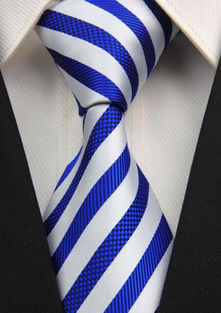 New GZ068 Blue White Stripe Classic JACQUARD Woven 100%Silk Mens Tie Necktie