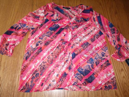 Nwt Womens Jones New York Navy Pink Bloom Blouse Ruffle Top Navy 3//4 M XL $89