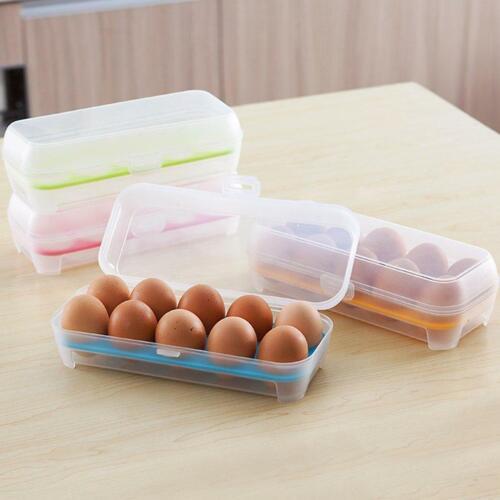 10 Cells Eggs Space Saving Fresh Box Storage Container Case Plastic Crisper BT