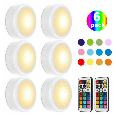 6er Schrankleuchten LED Spot Batteriebetrieben Nachtlicht mit 2 Fernbedienung