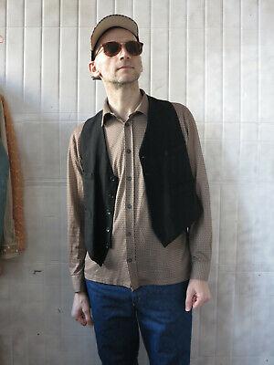 Gilet Antico Vestito Gilet Gehrock Nero 30er True Vintage Waistcoat Vest Black-mostra Il Titolo Originale
