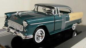 Motormax-1-24-Scale-1955-Chevy-Bel-Air-Green-Cream-Diecast-model-car