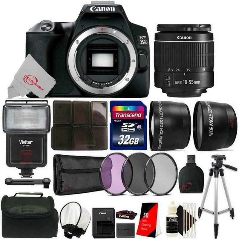 Canon EOS 250D / Rebel SL3 24.1MP 4K Digital SLR Camera + 32GB Accessory Kit