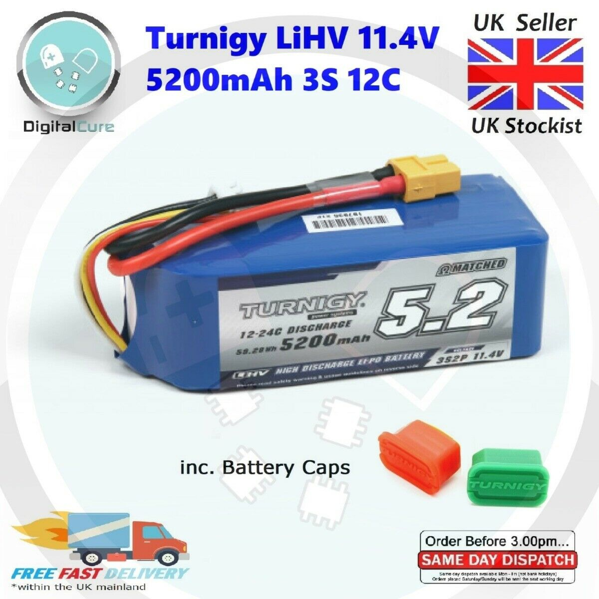 Turnigy LiHV 5200mAh 3S 11.4V 12C-24C XT60 Lipo Battery + Caps - 5000 3000 4000