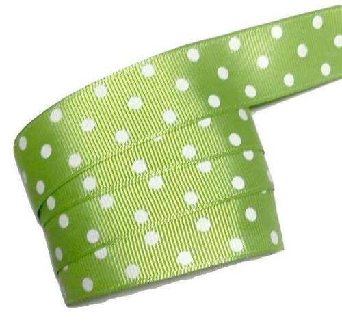 "3 yards Lime green polka dot print 7//8/"" grosgrain ribbon by the yard DIY"
