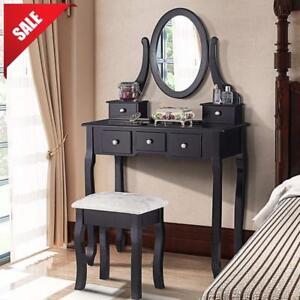 Details about Vintage Makeup Vanity Table Set Mirror Stool Bedroom Dressing  Table Desk BLACK