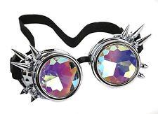 Kaleidoscope Silver Steampunk Goggles Punk Gothic Aviator Rave Kaleidoscopic