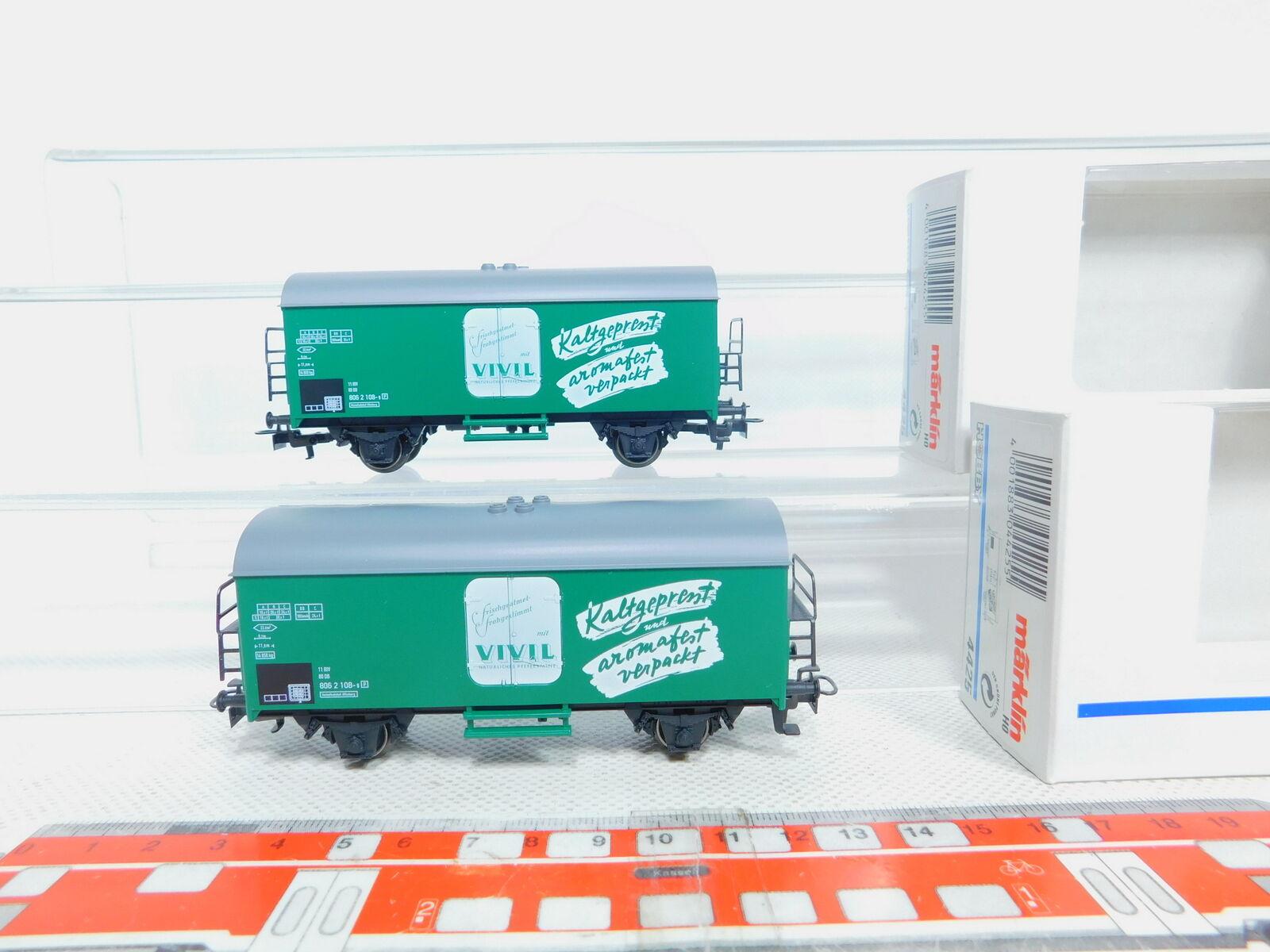 BZ585-0,5  2x Märklin H0 AC 4425 Güterwagen Kühlwagen Vivil NEUW; OVP  | Neuheit