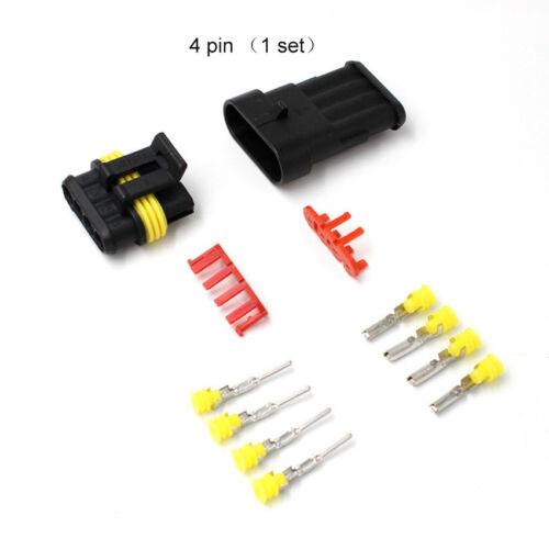 4 Pin Camino Sellado Impermeable Cable Eléctrico de 1.5mm Conector Plug Terminal Kits