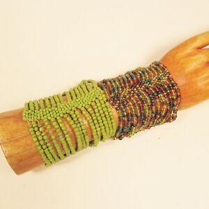Set-of-2-Green-Gold-Color-Multi-Strand-Handmade-Cleo-Stretch-Seed-Bead-Bracelets