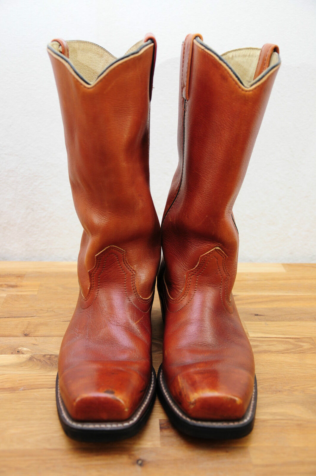 VTG SEARS Roebuck Brown Leather Square Toe Motorcycle or Cowboy Boots 8D EUC