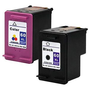 2PKs HP 60XL 60 XL Black Color Ink Cartridges Combo Pack CC641WN