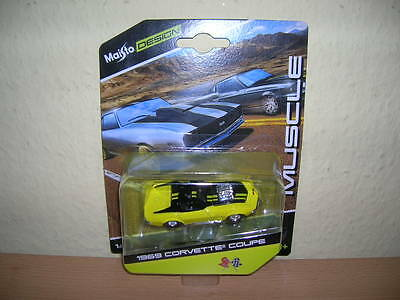 Special Section Maisto Design Muscle 1969 Corvette Coupe Yellow,1:64 Automotive