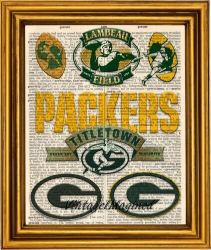 Green Bay Packers logo history art print on 8x10  vintage dictionary page