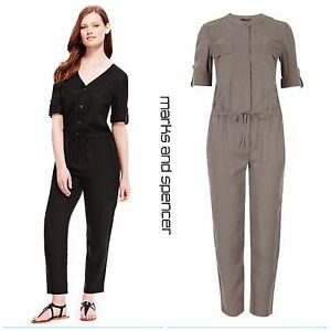 M-amp-S-3-4-Sleeve-Jumpsuit-size-6-Womens-Black-Grey-Playsuit-REDUCED