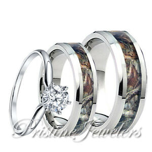 camo wedding rings for women womens 925 sterling silver ring mens titanium mossy forest 2414