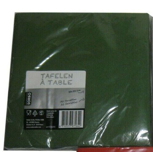 20 Servietten uni 3-lagig 33 x 33 cm rot silber grün 1//4 Falz einfarbig Tissue