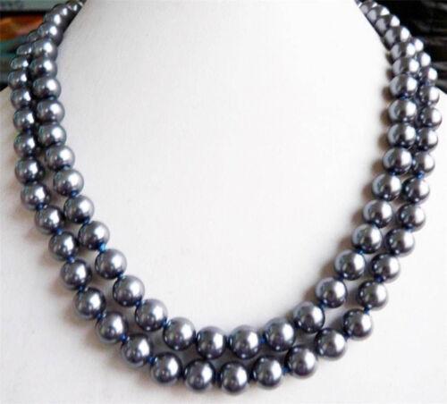 """Lovely 8 mm gris foncé naturel véritable SOUTH SEA SHELL Collier De Perles Long 36/"""" 1614"""