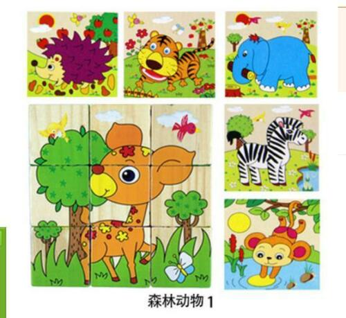 10# 6 Sides Puzzle Blocks Colorful Educational Wooden Kid Gift Children Cartoon