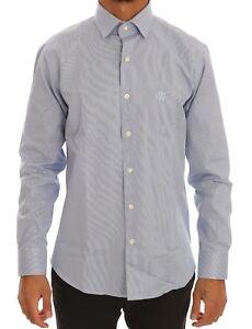 NEW-260-ROBERTO-CAVALLI-Shirt-Dress-Formal-Blue-Cotton-Slim-Fit-IT40-US15-75-M
