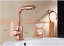 Rose Gold Deck Mounted Hot and Cold Brass Swivel Out Kitchen Mixer Faucet Taps