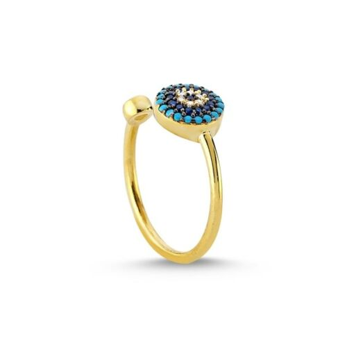 Or 14K FN Evil Eye Ring 925 Sterling Silver 0.50 ct turquoise blue diamond