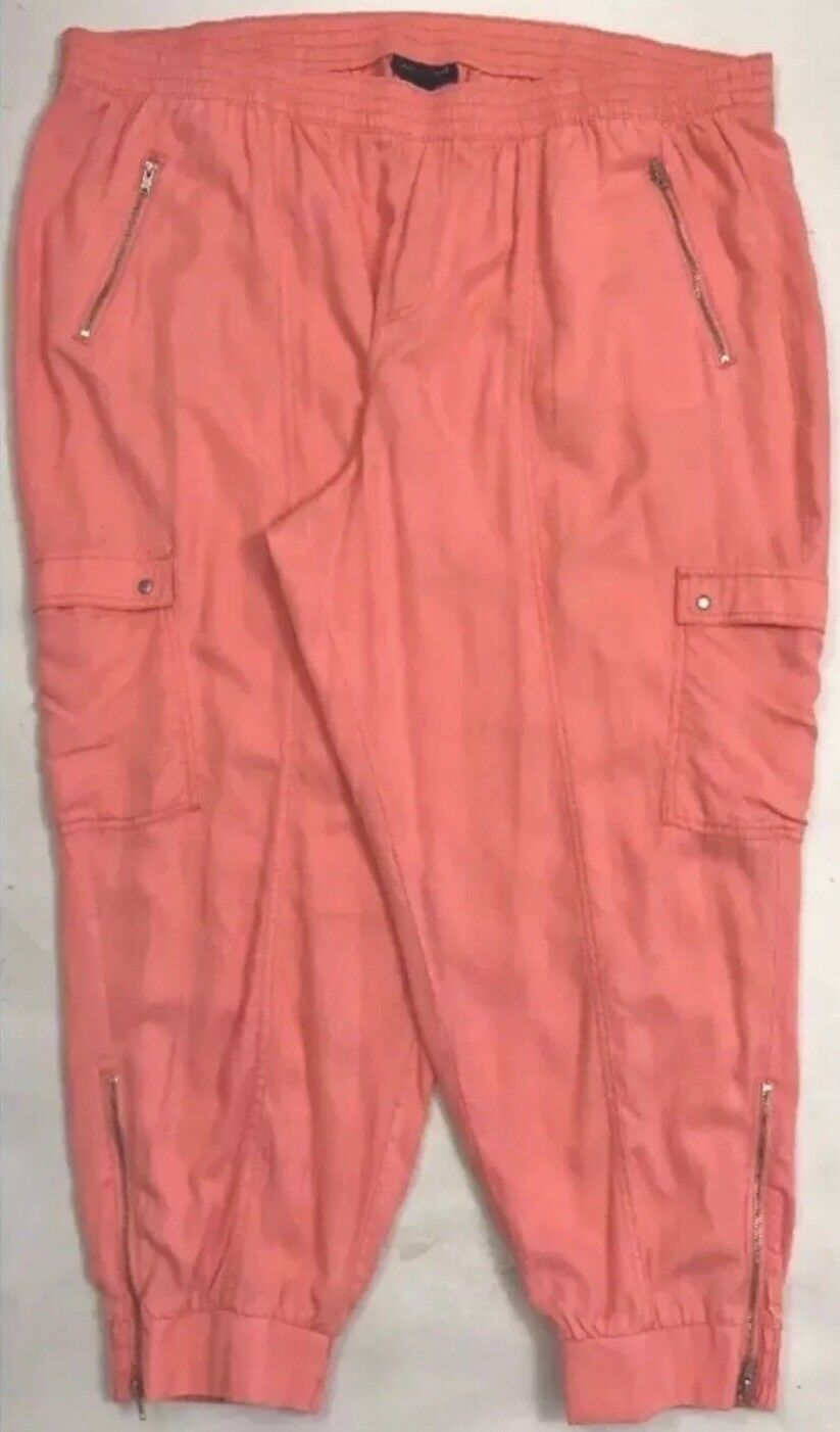 70 Lane Bryant  Plus Size 26 28 Flight Jogger Pant Pants Peach Salmon Cargo