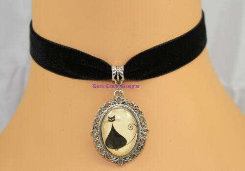 Black Velvet Choker Necklace Black Fat Cat Glass Cameo Goth Cosplay UK