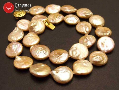 """14-15 mm rose pièce ronde naturelle d/'eau douce collier de perles pour femmes les colliers 17/"""""""