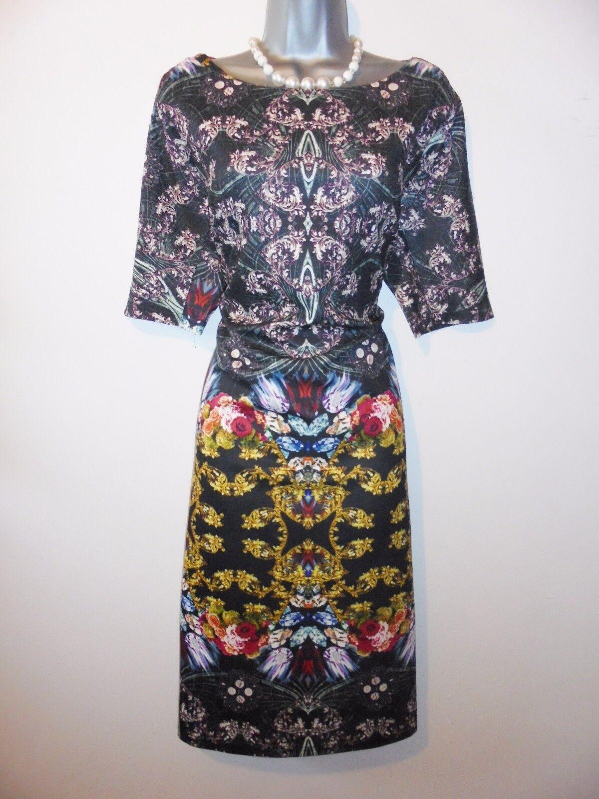 BNWT AX Paris Jewel Print Midi Curve Evening Occasion Dress Size 16 NEW