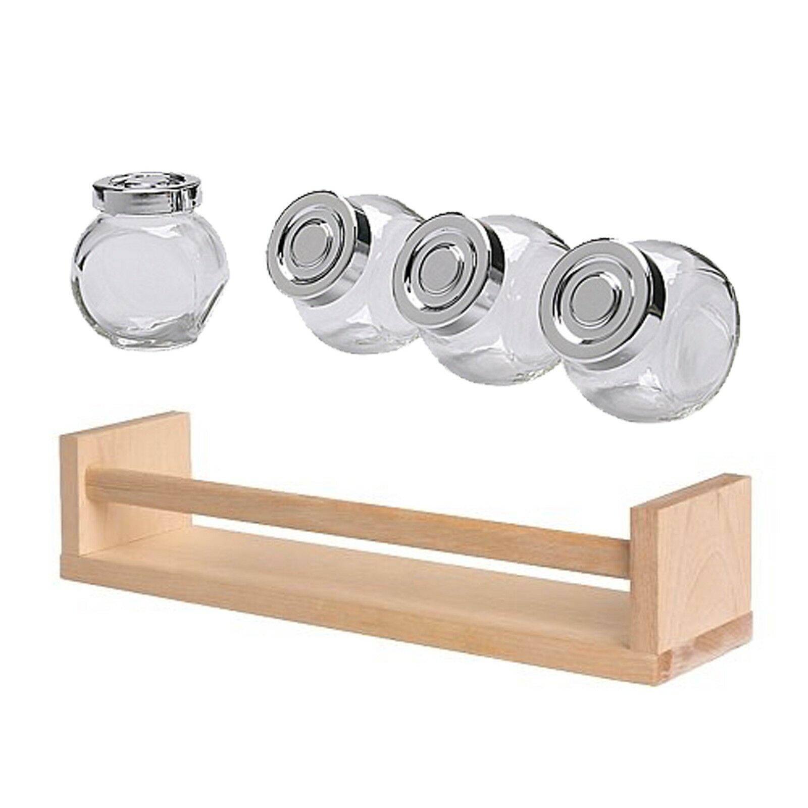 Set di 4x ikea rajtan vetro spezie vasetti 1x bekvam portaspezie in legno ebay - Ikea portaspezie bekvam ...