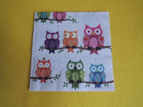 5 Servietten bunte Eulen COLOURFUL Owls ÄSTE Muster Serviettentechnik kauz uhu
